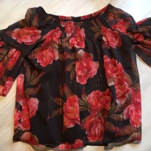 Floaty floral blouse off shoulder